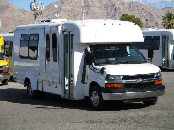 Front Passenger View of 2012 Elkhart Coach Wheelchair Shuttle Bus