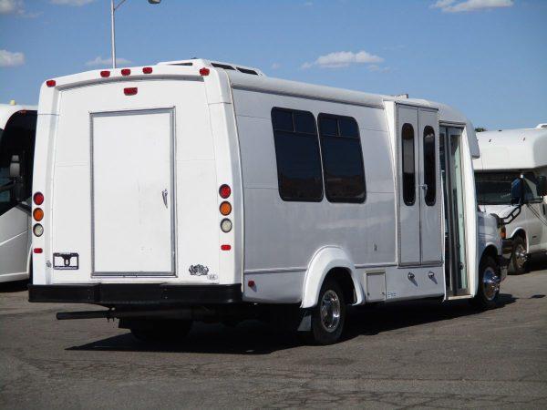 Rear Passenger Side View of 2012 Elkhart Coach Wheelchair Shuttle Bus