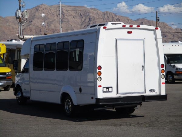 Rear Drivers Side View of 2012 Elkhart Coach Wheelchair Shuttle Bus